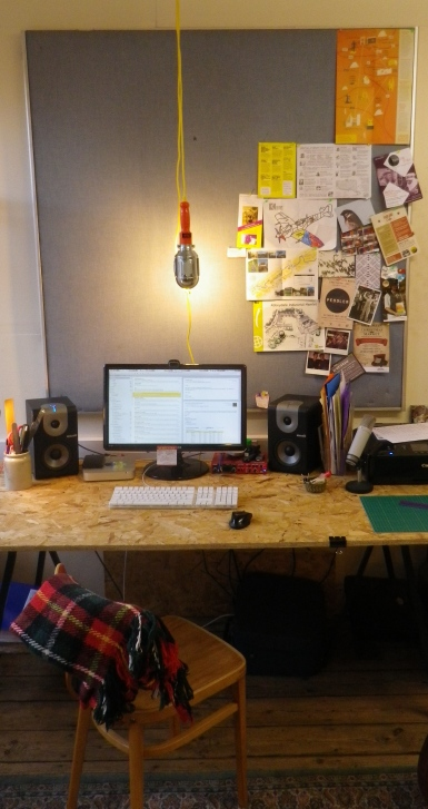 My humble but ample recording setup on the home made trestle desk.