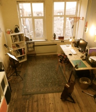 A bird's-eye (on a chair) view of the main work area.