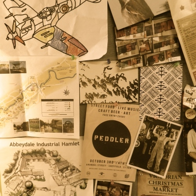 Close up of the pinboard, featuring many Sheffield-related happenings.